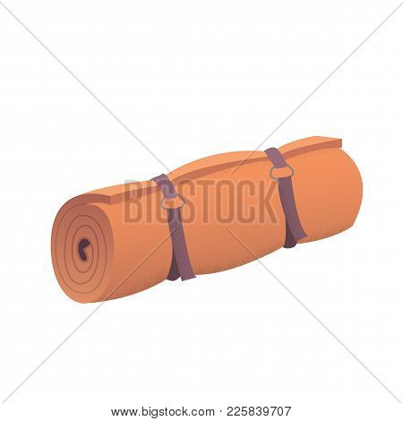 Orange Camping Roll Mat Cartoon Vector Illustration