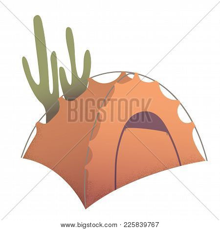 Orange Camping Tent Shelter In Desert Near Cactuses Cartoon Vector Illustration