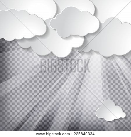 Clouds With Sun Rays On A Chequered Background