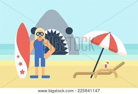 Trendy Flat Style Surfer Character With Deck Chair And Shark Behind