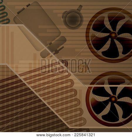 Technical Background Vector Illustration. Fan And Evaporator Parts. Cylinder Design Brown.