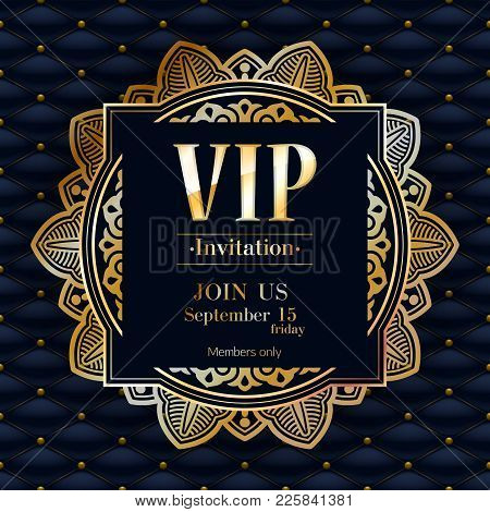 Vip Party Premium Invitation Card Poster Flyer. Black And Golden Design Background Template. Golden