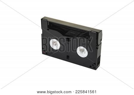 8mm Video Format Cassette On The White Background