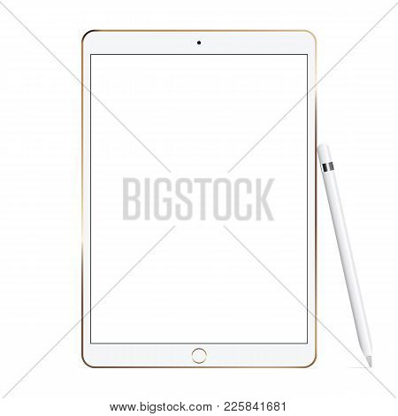 White Tablet Computer With Pencil Isolated On White Background. Showcase Your Mobile Web-site Design