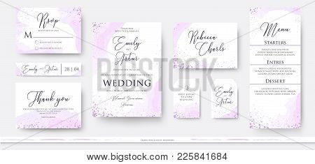 Wedding Invite Thank You, Rsvp Menu Card Design Set With Abstract Watercolor Decoration In Light Ten