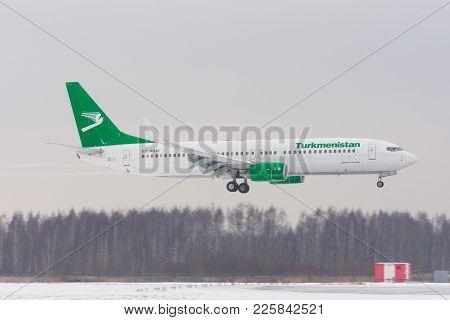 Boeing 737-800 Turkmenistan Airlines, Airport Pulkovo, Russia Saint-petersburg. February 04 2018