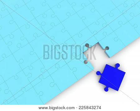 Puzzle With One Missing Puzzle Piece 3d Illustration
