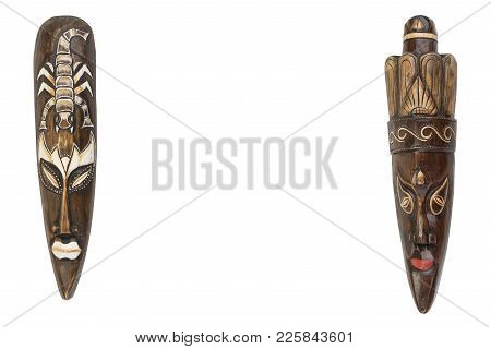 Carved African Wooden Mask On The White Background