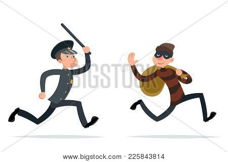 Thief Escape Loot Policeman Run Character Cartoon Retro Design Vector Illustration