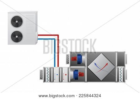 Air Handler With Heating, Cooling Unit, Recuperator And Conditioner Vector Illustration. Technical I