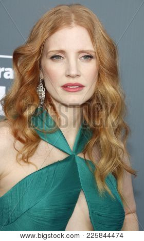 Jessica Chastain at the 23rd Annual Critics' Choice Awards held at the Barker Hangar in Santa Monica, USA on January 11, 2018.