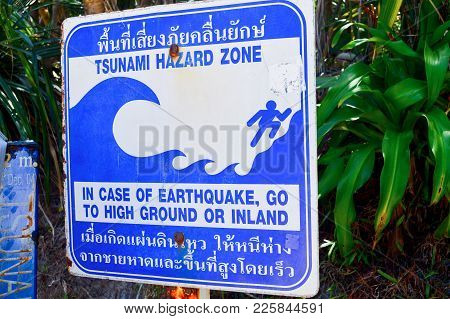 Tsunami. A Sign With Information About A Possible Tsunami. Traces Of Corrosion. The Ways Of Evacuati