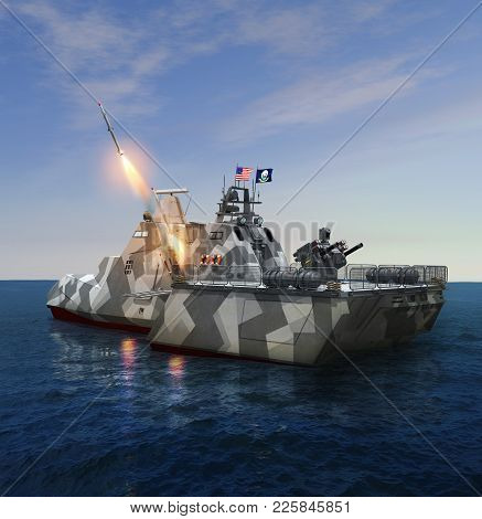 3d Render Illustration Of A Rocket Missile Launch From A American Futuristic High Tech Military Ship