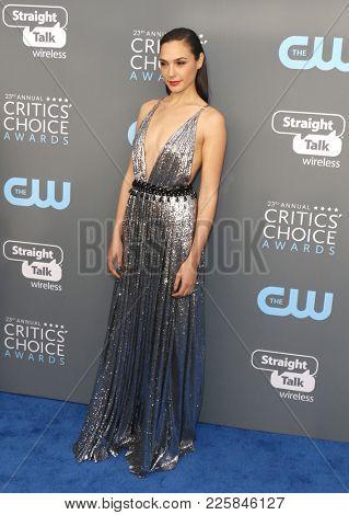 Gal Gadot at the 23rd Annual Critics' Choice Awards held at the Barker Hangar in Santa Monica, USA on January 11, 2018.