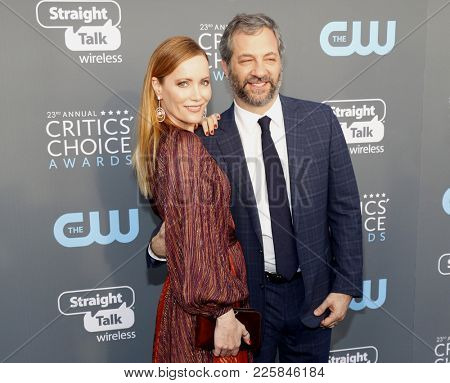 Leslie Mann and Judd Apatow at the 23rd Annual Critics' Choice Awards held at the Barker Hangar in Santa Monica, USA on January 11, 2018.