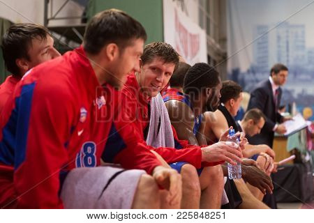 Samara, Russia - December 01: Bc Cska Forward Victor Khryapa #31 Sits On The Bench During The Bc Kra