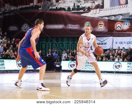Samara, Russia - December 01: Bc Krasnye Krylia Guard Anton Ponkrashov #7 Dribbles The Ball During T