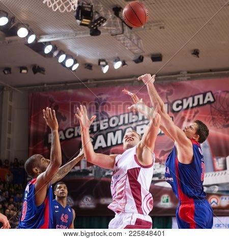 Samara, Russia - December 01: Anton Ponkrashov #7 Of Krasnye Krylia And Aaron Jackson #9 Of Cska And