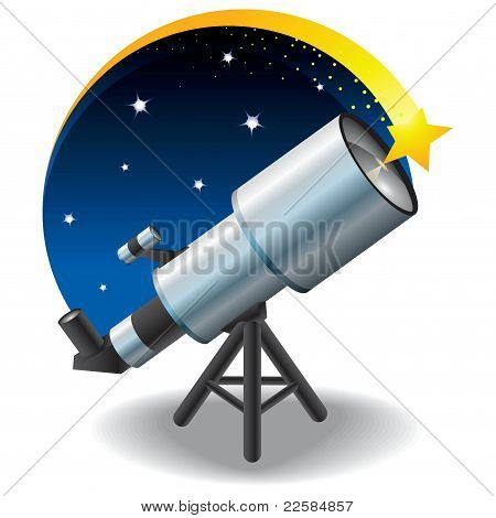 telescope and a star in the sky, floating