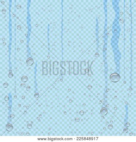 Water Droplets Flow Down On Blue Transparent Background. Beautiful Fresh Aqua Bubble Shape Natural D