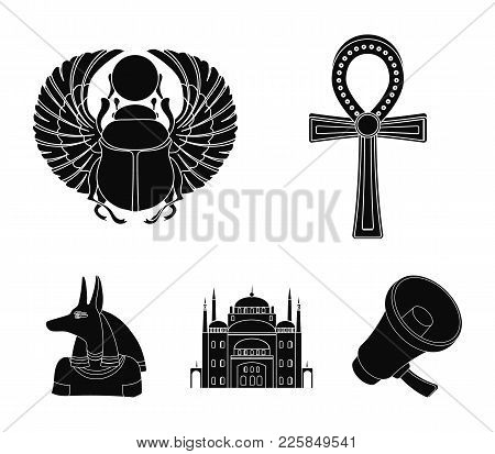Anubis, Ankh, Cairo Citadel, Egyptian Beetle.ancient Egypt Set Collection Icons In Black Style Vecto