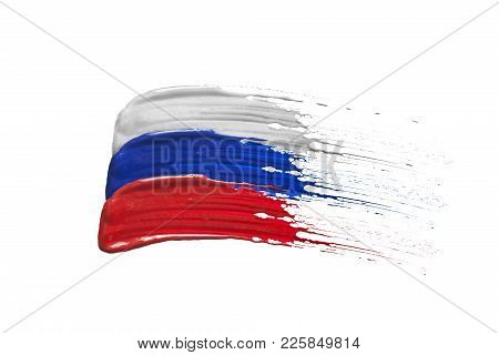 Paint Brush Strokes In Colors Of Russian Tricolor On White Background