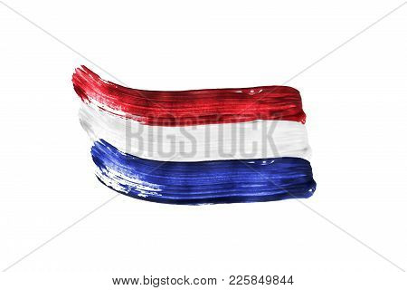Paint Brush Strokes In Colors Of Netherlands National Tricolor Isolated Over White