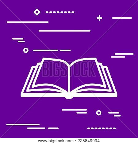 White Flat Linear Design Graphic Image Concept Of Open Book Icon A Ultra Violet Background