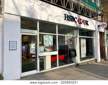 HAMPSTEAD, LONDON - FEBRUARY 6, 2018: Exterior view of a high street branch of HSBC UK bank in Hampstead, North London, UK.