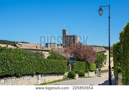 Aigueze, France - April 28, 2016: The Fortress Of The Village Of Aigueze, A Small Village Located So