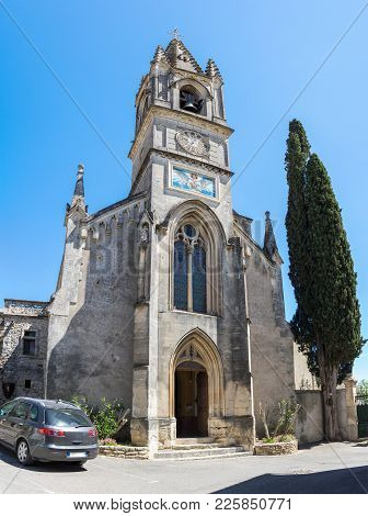 The Church Of Saint-roch In The Village Of Aigueze, A Small Village Located South Of France In The D