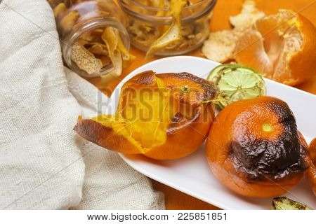 New Japanese Superfood, Grilled Tangerines With The Peel. A Photo Of The Antioxidant Grilled Mandari