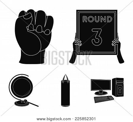 Boxing, Sport, Round, Hand .boxing Set Collection Icons In Black Style Vector Symbol Stock Illustrat