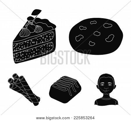 American Cookies, A Piece Of Cake, Candy, Wafer Tubule. Chocolate Desserts Set Collection Icons In B