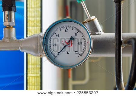 Industrial Thermometer In Boiler Room. Concept Of Accident Interruptions In Heating And Hot Water Su