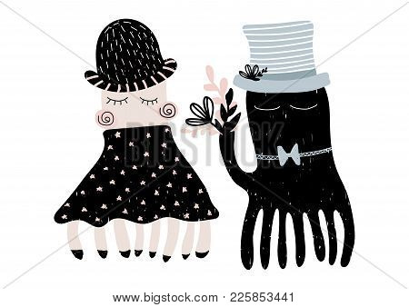 Card With Couple Of Enamoured Octopuses Un Scandinavian Style. Vector Illutration Isolated On White