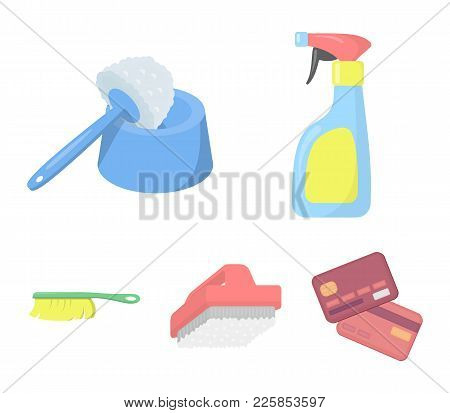 Cleaning And Maid Cartoon Icons In Set Collection For Design. Equipment For Cleaning Vector Symbol S