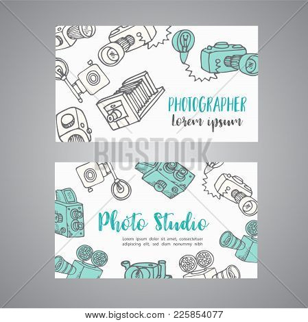 Sketchy Bussines Card For Photographer. Hand Drawn Doodle Cartoon Retro Photo Cameras, Vector Illust