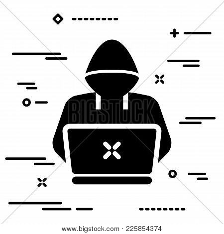 Thin Lineart Hacker Or Coder Icon On White Background