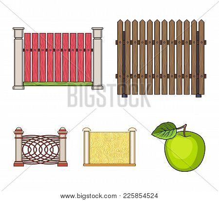 A Fence Of Metal And Bricks, Wooden Palisade. A Different Fence Set Collection Icons In Cartoon Styl