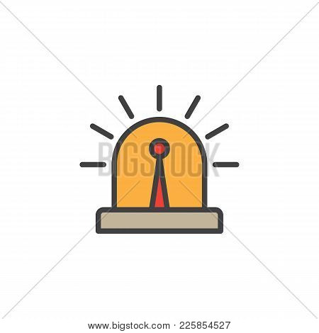 Flasher Alarm Light Filled Outline Icon, Line Vector Sign, Linear Colorful Pictogram Isolated On Whi