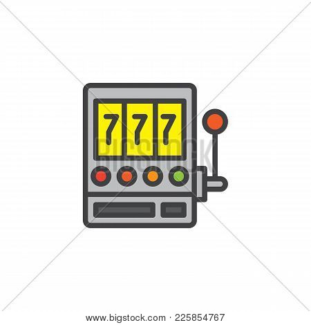 Slot Machine With Sevens Filled Outline Icon, Line Vector Sign, Linear Colorful Pictogram Isolated O