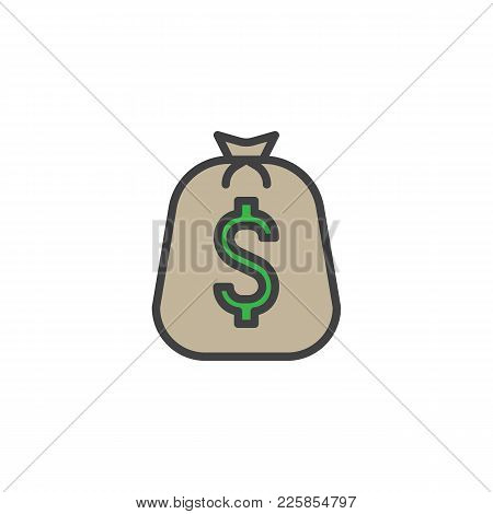 Big Bag Of Coins Filled Outline Icon, Line Vector Sign, Linear Colorful Pictogram Isolated On White.