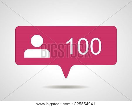 Illustration Of Flat Pink One Hundred Like Followers Social Media Icon On Grey Background