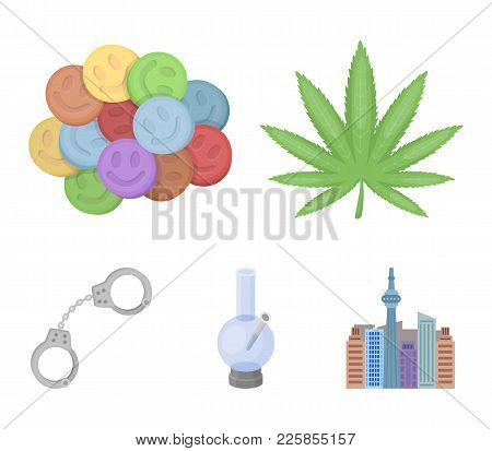 Hemp Leaf, Ecstasy Pill, Handcuffs, Bong.drug Set Collection Icons In Cartoon Style Vector Symbol St