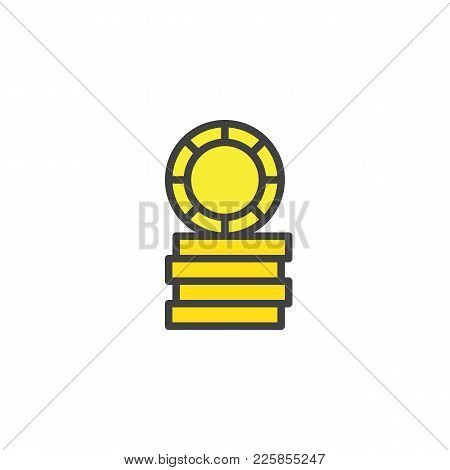 Casino Token, Gaming Chips Filled Outline Icon, Line Vector Sign, Linear Colorful Pictogram Isolated