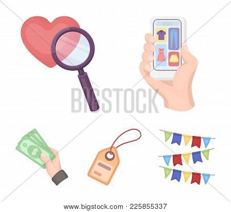 Hand, Mobile Phone, Online Store And Other Equipment. E Commerce Set Collection Icons In Cartoon Sty