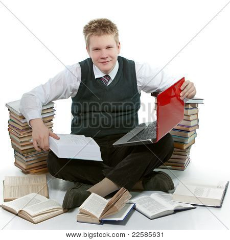 The teenager with a heap of textbooks.