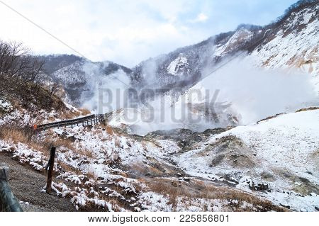 Jigokudani Or Hell Valley, Hot Spring Attraction During Winter