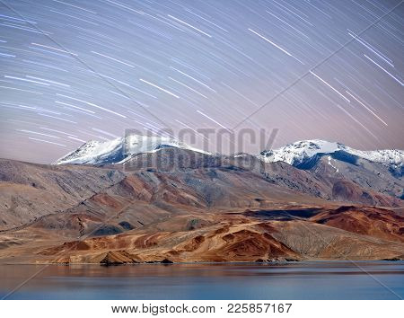 Tso Moriri Lake Night View In Ladakh, North India. The Lake Is At An Altitude Of 4 595 M; It Is The